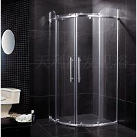 干湿隔断玻璃卫生间门 不锈钢全弧两梗两活对开趟门