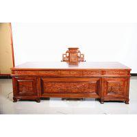 非洲刺猬紫檀现代中式麒麟办公台加宝座椅的木纹名琢世家报价
