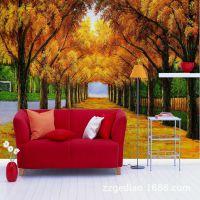 无缝电视沙发床头背景墙大型3D壁画厂家直供黄金满地欧式油画