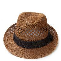 大檐手工钩针帽子 夏季找工席草编织镂空草帽 透气爵士帽