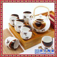 陶瓷茶具套装整套功夫茶具 手绘青花玄纹接木侧把壶套装礼盒包装