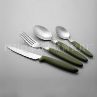 不锈钢塑料柄餐具 乐诚刀叉勺16件套西餐具