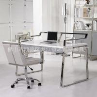 批发书房家具不锈钢书桌 现代书房办公电脑桌椅 亮光板式书房家具