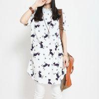 2015夏季新品文艺女装宽松大码小猫棉麻中长款衬衫女短袖衬衣