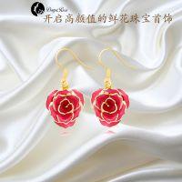 黛雅DAYA ROSE 精美镀金玫瑰女式镶钻耳环 天然玫瑰花材手工制作厂家定制批发