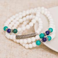 S925纯银微镶锆石泰银天然白砗磲绿松石青金石多圈手链