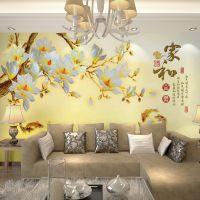3D壁纸 电视沙发床头背景墙 大型壁画厂家 玉雕家和富贵九鱼图