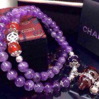 天然紫水晶薰衣草紫紫水晶葫芦女款6mm紫水晶多圈紫水晶手链
