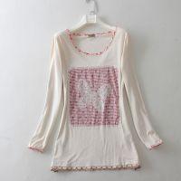 外贸原单女装 森女良品波点蕾丝蝴蝶刺绣贴布 T恤 打底衫0.18