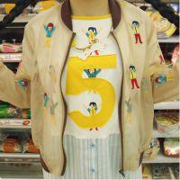 韩国ulzzang复古软妹童趣M学院刺绣卡通可爱棒球服短外套防晒衣服