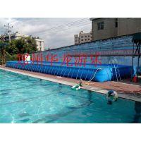 华龙厂家直销充气水滑梯 支架水池的价格