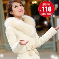 2014新款大毛领时尚修身中长款平湖羽绒服女款白色奢华厂家批发
