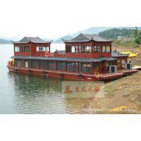 大型餐饮船 双层仿古画舫木船 景区观光旅游船定制