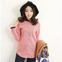 韩国春装新款复古格子衬衣女长袖学生打底衫衬衫 U118