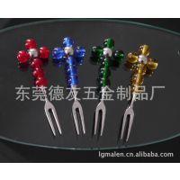 餐饮用具水果叉  玻璃珠环保叉子