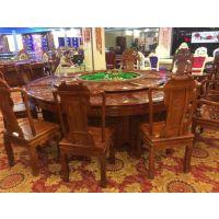 天津电动圆桌餐桌椅-木质圆桌价格-高档橡木雕花转桌图片