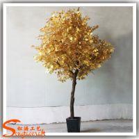 厂家供应金色榕树盆栽 仿真许愿树 春节装饰假金色榕树