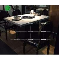 主题火锅烧烤一体餐桌 多多乐家具主题餐厅烧烤桌 田园自动消烟餐桌