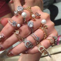 韩国潮多款 宝石戒指 字母珍珠戒指女韩版食指戒圆球满钻水钻戒环