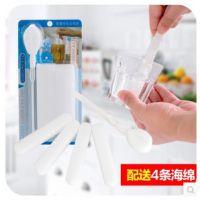 3月厨房创意纳米海绵杯刷 加长柄瓶刷 魔力清洁水杯刷子4块海绵