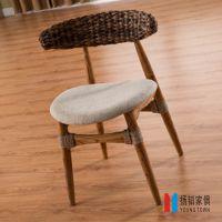 厂家直销 休闲靠背椅 布艺软包实木餐椅 酒店创意北欧宜家椅子