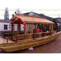 供应热卖小型画舫船 山东聊城龙堤码头自驾电动观光旅游仿古木船