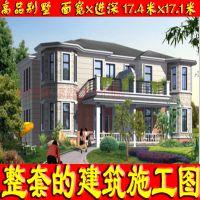 框架结构气派三层带观景平台中空新农村自建别墅设计图17.4x17.1米