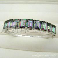 时尚手链,欧美风格手环,925银,天然水晶,镀彩,5件起批