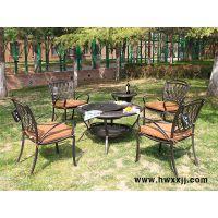 馨宁居铸铝烧烤桌椅庭院花园烧烤桌椅组合五件套件户外烧烤炉具