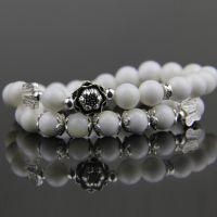 正品天然水晶 白砗磲手链 泰银 纯天然佛珠手串 饰品女