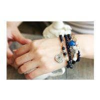 韩国风天然蓝砂石手链 蓝色水晶蓝砂石手链钱币佛牌手链葫芦