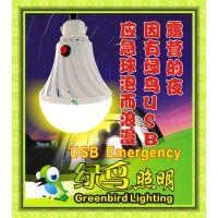 绿鸟照明佛山市开关USB应急灯 5V-6VLED灯 移动充电USB球泡