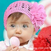 厂家直销2015韩版春秋儿童两朵话针织毛线帽子 宝宝套头帽子批发