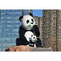 厂家直销玻璃钢熊猫雕塑 园林景区熊猫造型 城市主题动物雕塑