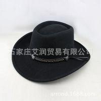 出口纯羊毛呢毡帽 男女士牛仔礼帽子 工厂供应出口来样来图定做