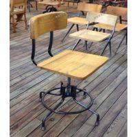 巧夺 复古铁艺美式乡村可旋转升降吧台椅  休闲实木创意酒吧椅子