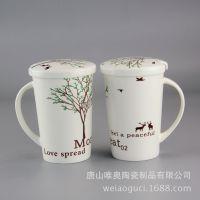 厂家批发骨质瓷彩杯 水杯 陶瓷礼品盖杯 定制多种画面 新品上市
