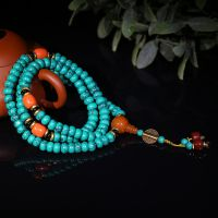 新款纯手工编织藏式三通佛珠 民族风108颗绿松石佛珠手链 批发