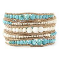 混批路塔斯曼珍珠母贝与绿松石银珠混合5圈本色皮绳手链