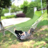 棉线网状吊床 木杆棉线吊床 绵绳网状吊床 加粗105股双木杆吊床