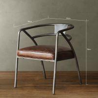 美式复古真皮铁艺圈椅 吧台椅子客厅餐椅低靠背仿古做旧咖啡桌椅