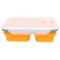 户外旅行便携餐盒 硅胶折叠饭盒 可伸缩午餐便当盒