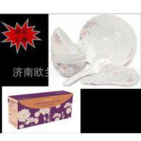 陶瓷玻璃10头套装餐具  4.5寸碗*4+8寸汤碗+大勺+4小勺