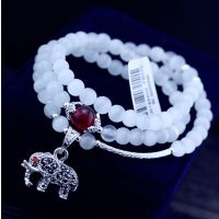 6mm白色猫眼石银饰小葫芦百搭手链 夏日清凉水晶多元素多圈手链批