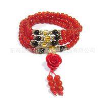 晶壹水晶时尚佛珠手链 天然红黑玛瑙黄水晶珊瑚玫瑰花佛珠手链