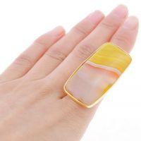 新款 速卖通 欧美 外贸饰品批发 镀金 方形 玛瑙 开口 合金戒指