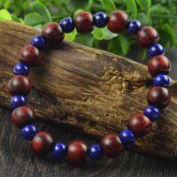 印度正宗小叶紫檀手链 隔天然青金石 珠径7X9毫米苹果珠佛珠手链