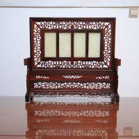 太阳红红木屏风实木越南老挝大红酸枝玉屏精致典雅中式木质工艺品