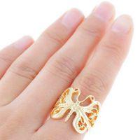 新款 速卖通亚马逊 欧美流行 外贸饰品批发 镀金 蝴蝶 合金戒指