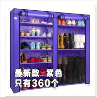 简易鞋柜布鞋橱 双排9格宜家鞋架加固加厚收纳带防尘罩特价包邮